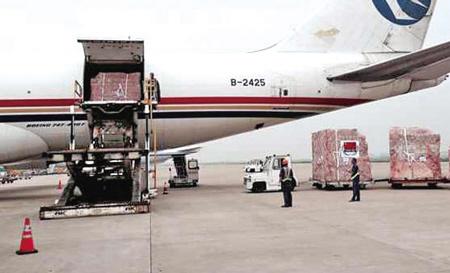 工作人员在上海浦东国际机场将援助非洲抗击埃博拉病毒物资运上飞机.