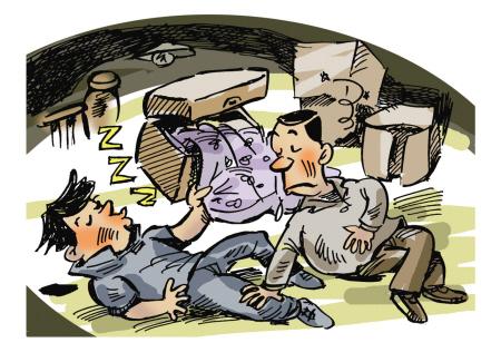 这个时候,两个人的酒劲不约而同上来了,昏昏沉沉,就从衣柜里翻出一条