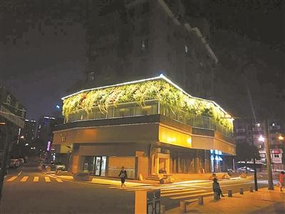 江北区砖桥巷墙面绿化景观项目夜景.
