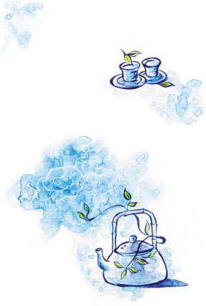 女人喝茶淡雅手绘图