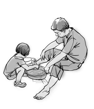 帮父母洗脚简笔画卡通