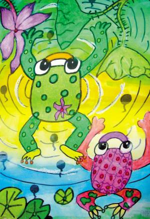 青蛙写诗手绘画
